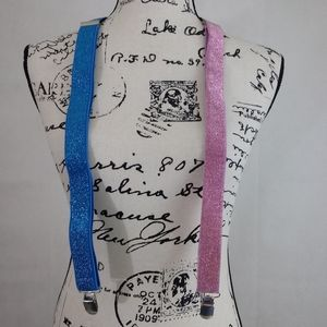 Accessories - Blue and Pink Sparkle Y Suspenders OS Unisex